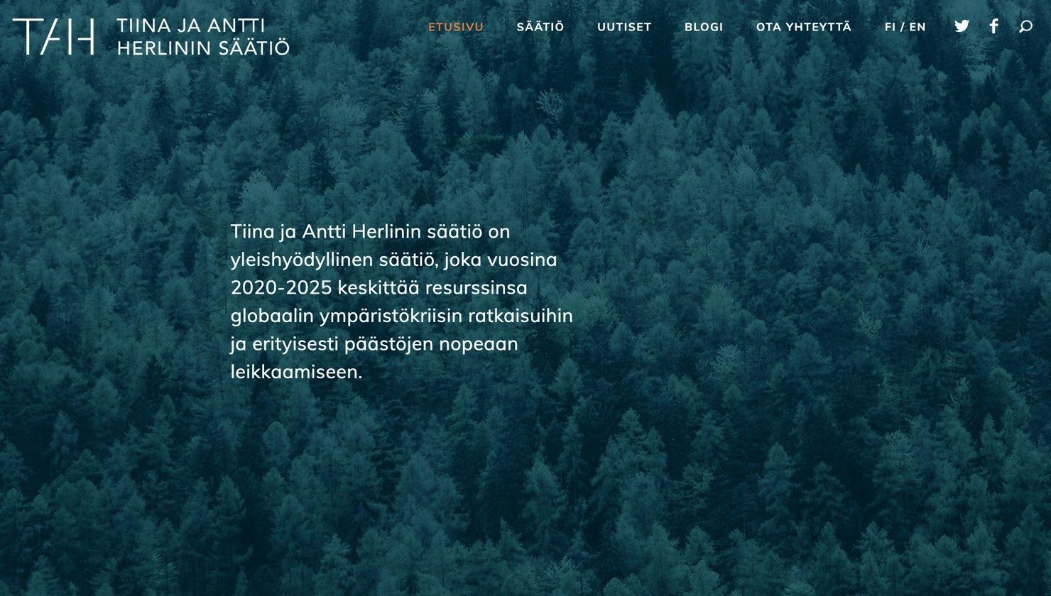 Tiina ja Antti Herlinin säätiön verkkosivujen etusivu